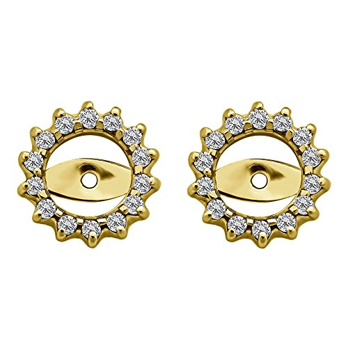 1/3 ct. Diamonds (G-H,I2-I3) Round Cluster Earring Jackets in Yellow Plated Sterling Silver (0.28 ct. twt.) by TwoBirch
