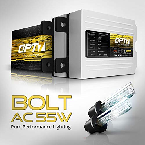 (OPT7 Bolt AC 55w H1 HID Kit - 5X Brighter - 6X Longer Life - All Bulb Sizes and Colors - 2 Yr Warranty [5000K Bright White Xenon Light] )