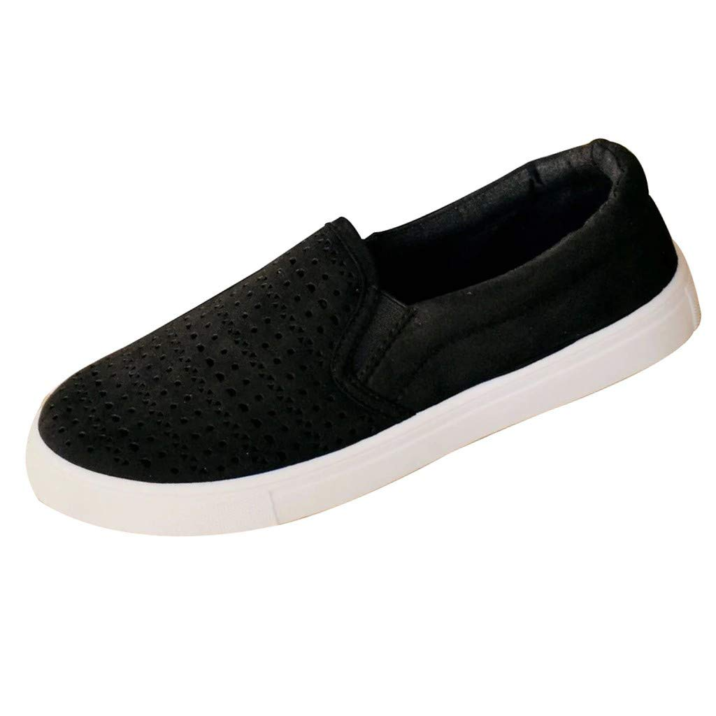 ZOMUSAR New! 2019 Womens Canvas Flat Running Shoes Summer Beach Shoes Hollow Casual Single Shoes Black