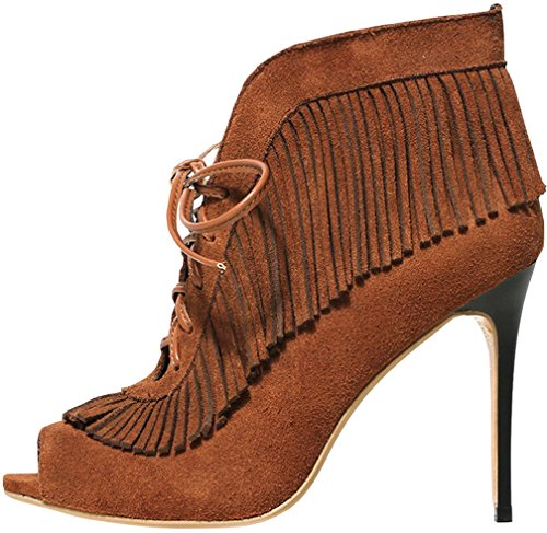 Calaier Damen Casinger 10CM Stiletto Selbstbindung Pumps Schuhe Braun