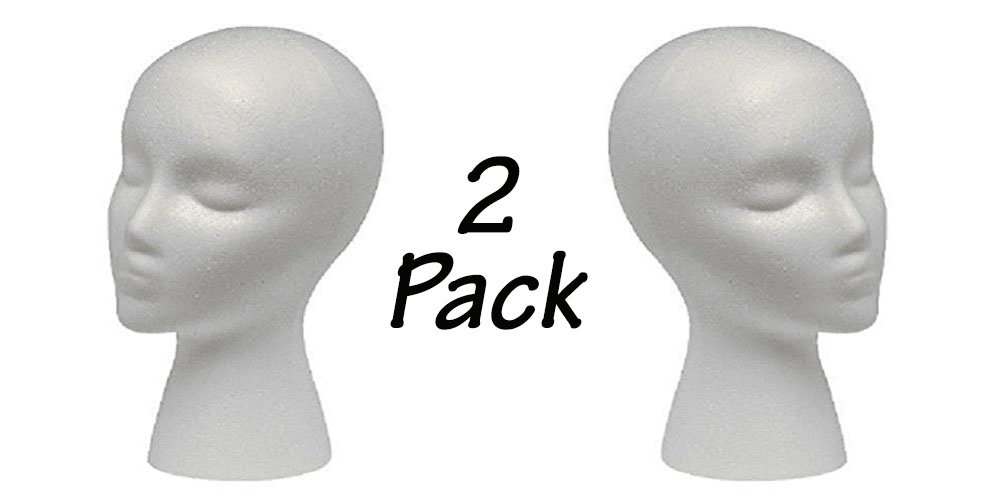 2 Styrofoam Mannequin Head with Female Face