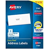 Avery AVE05160 Easy Peel Address Labels, Permanent Adhesive, 1' x 2-5/8', 3,000 Labels