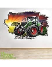 1Stop Graphics Shop Tractor Muursticker 3D optiek - Slaapkamer Lounge Natuur Farm hof muur Aftrekplaatjes Z679