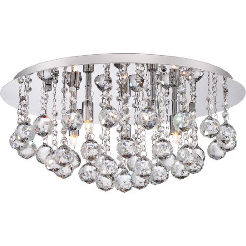 Quoizel BRX1619C  Bordeaux With Clear Crystal 5-Light Flush Mount, Polished (Bordeaux Flush Mount Ceiling Light)