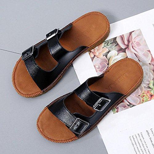white sandalias Negro Casual Cómodas Sole Black GAOLIXIA Creamy Zapatos de Beach moda Soft de Bottom Oxford Blanco Shoes mujer Zapatillas Outdoor Belt Summer Buckle OOC1qpw