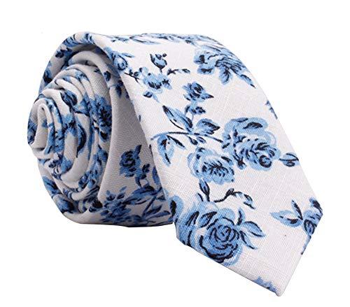 Kebs Basic Mens Slim Necktie Skinny Tie for Men - Blue Floral, White ()