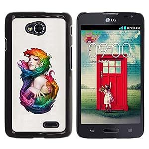 Be Good Phone Accessory // Dura Cáscara cubierta Protectora Caso Carcasa Funda de Protección para LG Optimus L70 / LS620 / D325 / MS323 // Colorful Woman