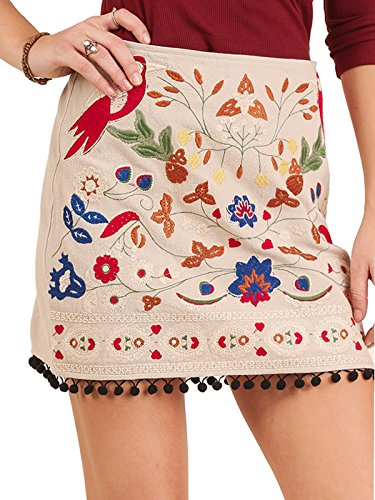 Umgee Women's Embroidered Skirt Pom Pom Trim Spring Preview (Small, Taupe) (Spring Embroidered Skirt)