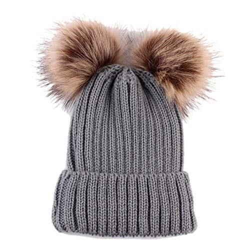 (Women Beanie Hat Knitted Cute Fur Pompom Double Ball Fashion Casual Solid Color Hat)