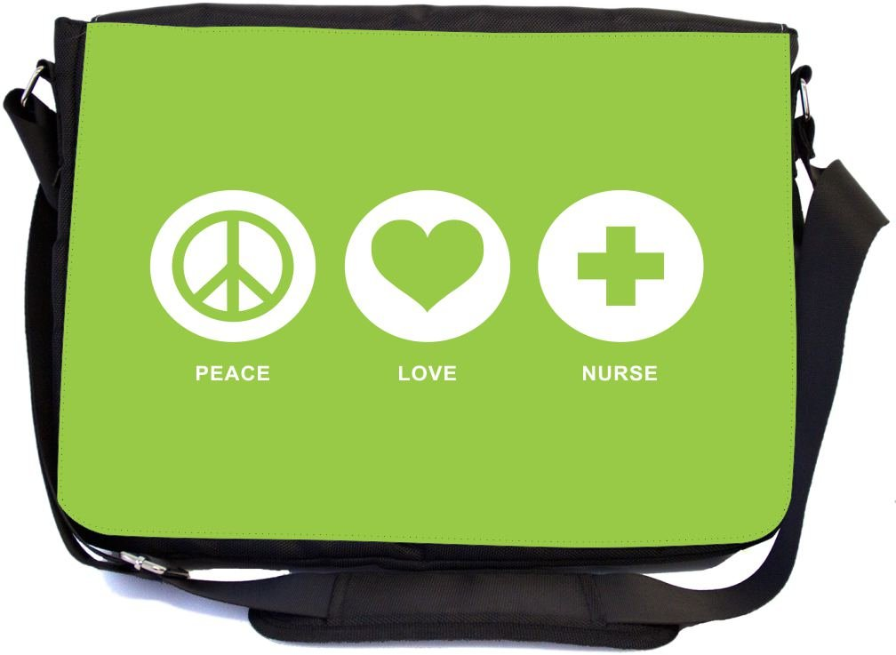 Rikki Knight Peace Love Nurse Lime Green Color Design Combo Multifunction Messenger Laptop Bag - with Padded Insert for School or Work - Includes Wristlet & Mirror