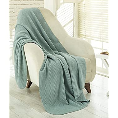 Ottomanson Bed Blankets, Bedspread, Plush Cotton Throw, Soft Cotton Cozy Blanket Imported from Europe Waffle Solid Fleece Blanket, 50  W x 65'' L, Sage Green