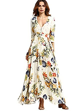 Milumia Women's Button Up Split Floral Print Flowy Party Maxi Dress Beige XS
