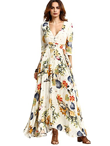 [Milumia Women's Button Up Split Floral Print Flowy Party Maxi Dress Beige L] (Hippie Dress)