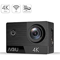 AIQIU 4K Action Camera, Sony Sensor WIFI Waterproof Sports Cam 170 Degree Wide Angle 2Screen Ultra HD 16MP/2 Rechargeable 1350mAh Batteries/ Wireless Remote Control/ 21 Mounting Kits