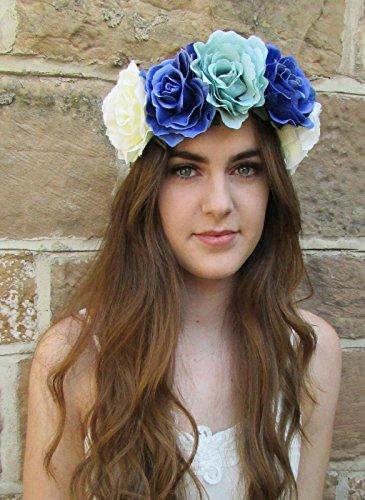Grand Bleu Turquoise Ivoire Rose Fleur Couronne Serre-tête guirlande Big Cheveux Bande x-43* * * * * * * * exclusivement vendu par–Beauté * * * * * * * *