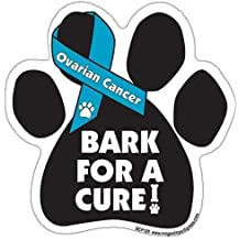 Bark For A Cure Ovarian Cancer Paw Support Ribbon Car Truck & Mailbox Magnet