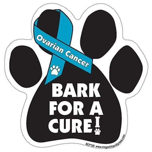 (Bark For A Cure Ovarian Cancer Paw Support Ribbon Car Truck & Mailbox Magnet)