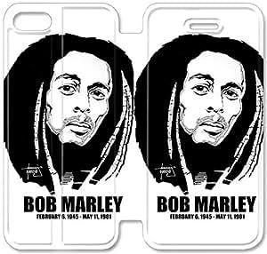 Funda del tirón del cuero de la PU del soporte para el Funda iPhone 5 de 5S, bricolaje del teléfono celular 5 5S Funda Dss Sin Bob Marley Por Gothicathedral B9X8CD personalizada Funda de cuero Funda iPhone Durable