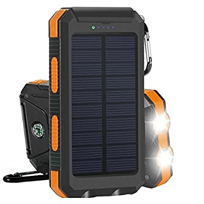 Solar Charger, Solar Power Bank 10000mAh External Backup Battery Pack Dual USB Solar Panel Charger with 2LED Light Carabiner Compass Portable for Emergency Outdoor Camping Travel