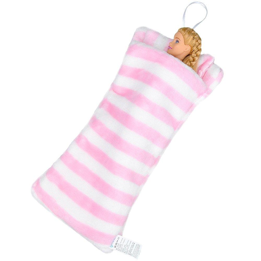 Amazon.es: E-TING Saco de Dormir Hecho a Mano con Pelusa para Accesorios de Dormitorio muñeca(Muñeca no Incluye) (Rayas Rosas y Blancas): Juguetes y juegos