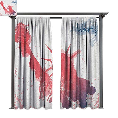 4th of July Long Curtains,Watercolor Lady Liberty Silhouette with Paint Splashes Independence,54