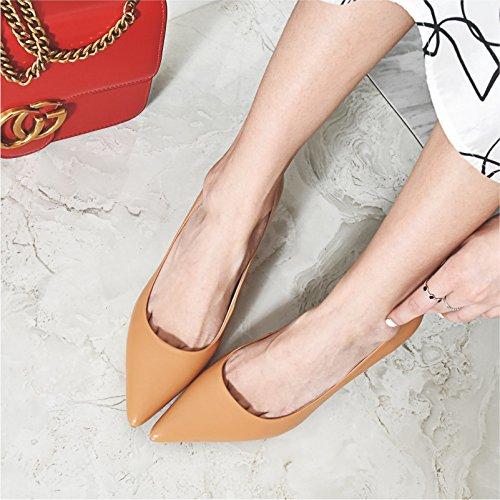 AJUNR elegante Kang tacco 36 Suggerimento e ed Sandali e alta fine Da Alla di con scarpe giallo 7cm sexy versatile Donna Moda POrqPRSx