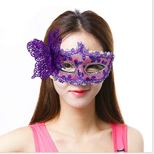 Blue Stones Venice Patch Painted Princess Party Mask Christmas Butterfly Mask Halloween Masquerade Lady Eye Masks -