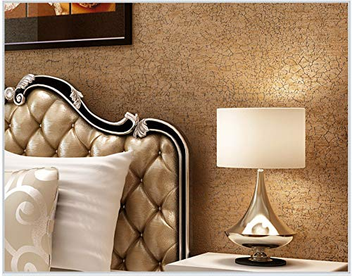 Non-Woven Wallpaper Ice Cracked Gold and Copper Wallpaper Modern Fashion Art for Living Room Bathroom Kitchen Home Decor