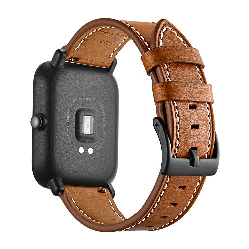 Kartice Compatible Amazfit Bip Band,Huami Amazfit Bip Bands Genuine Leather Strap Replacement Buckle Strap Wrist Band Compatible Amazfit Bip Smartwatch. (Brown) by Kartice (Image #4)