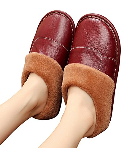 Cattior Warm House Leather Slippers Womens House Shoes Wine Red R6TE1laC