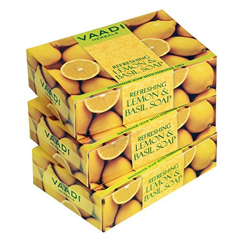 Lemon Soap (Lemon Basil Bar Soap) - Handmade Herbal Soap (Aromatherapy) with 100% Pure Essential Oils - ALL Natural - Natural Skin Whitener - Each 2.65 Ounces - Pack of 3 (8 Ounces) - Vaadi Herbals