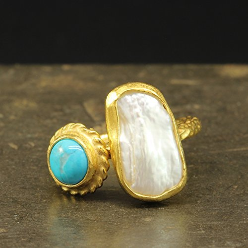 Handcrafted Natural Turquoise & Baroque Pearl Ring 925 Sterling Silver 24K Gold Vermeil Hammered Designer Irregular Pearl Ring