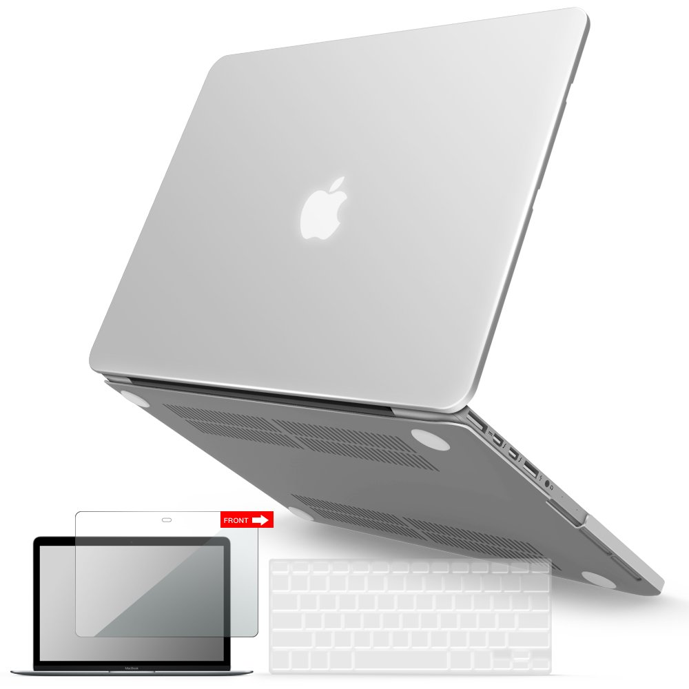 I Benzer Basic Soft Touch Series Plastic Hard Case, Keyboard Cover, Screen Protector For Apple Previous Generation Mac Book Pro 13 Inch 13'' With Retina Display A1425/1502, Clear by I Benzer