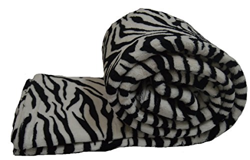 (Mk Home Microfleece Throw Blanket Light Wieght (Queen, Zebra White))