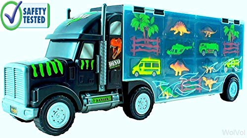 WolVol Giant Dinosaur Transporter Truck Toy Carrier with Cars and Dinosaurs, Great Toy Truck and Car Carrier