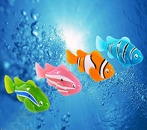 NEW! Robofish Activated Battery Powered Robo Fish Toy Childen Kids Robotic Pet hot sale (Orange, 7cm)