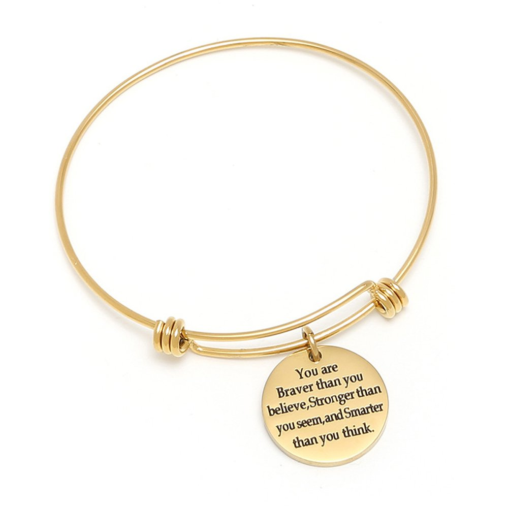 You are Braver Than You Believe Stronger Than You Seem and Smarter Than You Think, Adjustable Cuff Bangle Bracelet Sekluxy Se10117-1