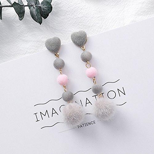 High-Season Boucle D'oreille Femme 2017 New Cute Fur Ball Pom Pom Long Drop Earrings For Women Earings Fashion Jewelry New Year Gift (grey ball) Femme Medicine