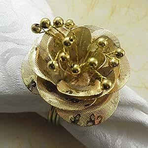 CH y CH Rose Wedding Metal anillo para servilletas juego de 6, diámetro de 4,5 cm, amarillo