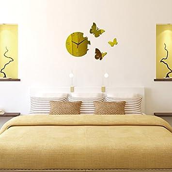 Wall Sticker ALLDOLWEGE Habitación Personalizada Relojes de réplica de Reloj de Pared de Silencio Mariposas Adhesivo B: Amazon.es: Hogar