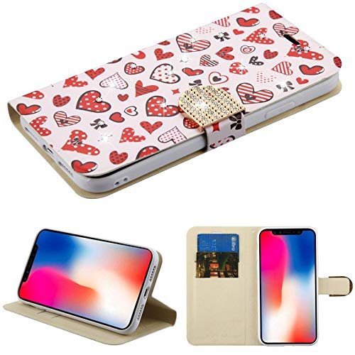 Insten Heart Cluster Stand Folio Flip Leather [Card Slot] Wallet Flap Pouch Case Cover with Diamond Compatible with Apple iPhone XR, Pink/Red