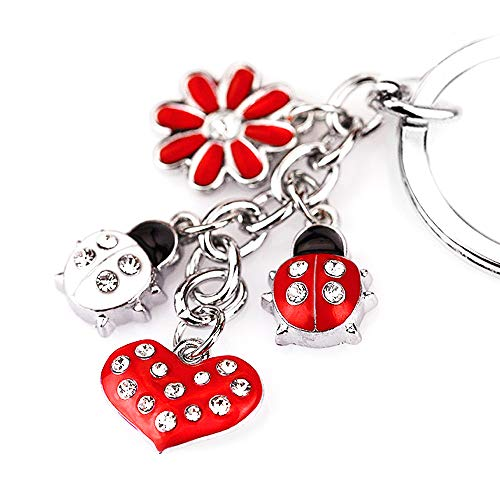 Z395 Cute Red Style Ladybug Heart Lily Charms Key Ring - Car Style Bug