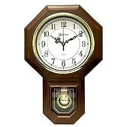 Timekeeper Essex Westminster Chime Faux Wood Pendulum Wall Clock, 17.5 x 11.25, Walnut