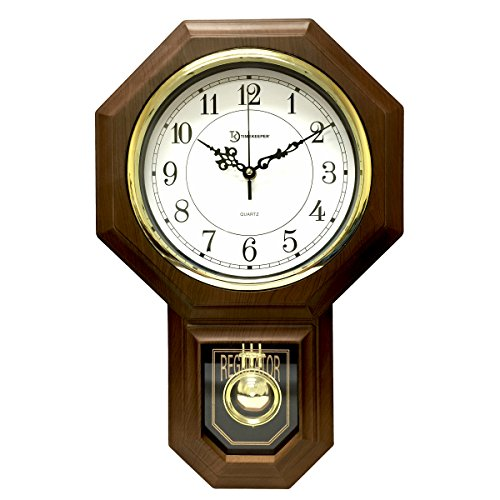 Timekeeper Essex Westminster Chime Faux Wood Pendulum Wall Clock, 17.5' x 11.25', Walnut