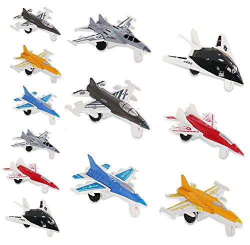 Liberty Imports 12 Piece Mini Diecast Metal Fighter Jets Air Force Set (1 Dozen) ()