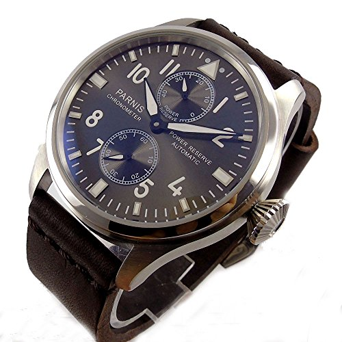 (Parnis Black Dial 47mm Seagull Automatic Movement Men's Wristwatch Luminous Pointer Power Reserve Display)
