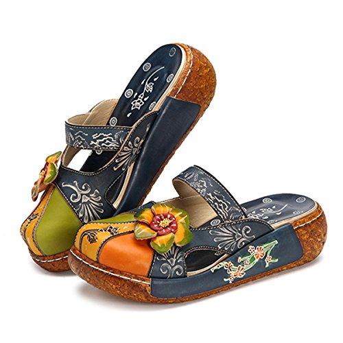 Sandalen Gracosy Vrouwen, Zomer Leren Slippers Pantoffel Vintage Backless Klompen Kleurrijke Bloem Schoenen Zachte Comfortabele Blue-i