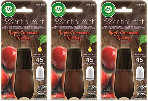 Air Wick Essential Mist Air Freshener Refill - Apple Cinnamon Medley - Net Wt. 0.67 FL OZ (20 mL) Per Refill - Pack of 3 Refills