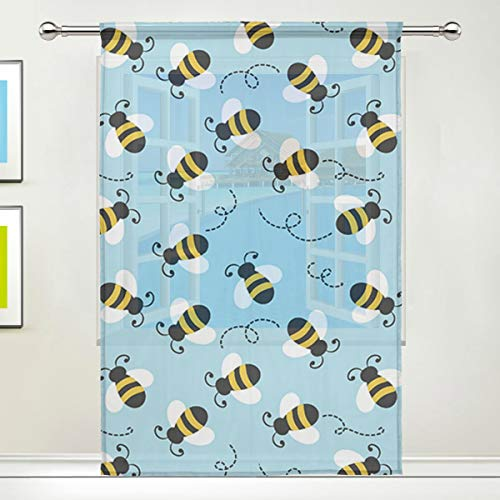 - Bumblebee Pattern 84 Inch Sheer Curtains Window Voile Panels for Bedroom & Kitchen