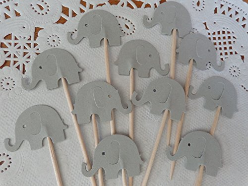 Light Grey Elephant Cupcake Toppers – Light Gray Elephant Food Picks – Party Picks – Baby Shower Appetizer Picks – Gender Neutral Shower – (Set of 24)